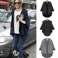 2014 Autumn Europe Style Women Coat Batwing Sleeves Open Stitch Womens Jackets Casual Big Yard Tweed Jacket Free Shipping NZ025