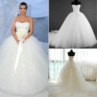 2014 Newest Lace Plus Size Ball Gown Wedding Dresses Real Image Tulle Strapless Scoop Neck Sleeveless Lace up Back Bridal Gowns