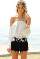blusas femininas 2014 New White Off the Shoulder Strapless casual chiffon women Blouses