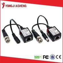 10 paires 1 voie passive alimentation vidéo transceiver balun vidéo bnc vers rj45 avec le pouvoir(China (Mainland))