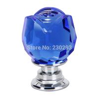 7PCS 20mm Blue Rose Flower Shaped Glass Kitchen Pulls Ceramic Handle Drawer Pulls Knobs Kitchen Cabinets Crystal Drawer Knobs