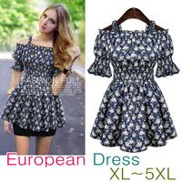 Women's Flower Pattern Printed Cute Mini Dress PLUS SIZE/Free Shipping/One-piece Dress/Cardigan