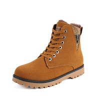 2014 Winter Men's Snow Leather Boots Fur Keep Warm Men Casual Shoes