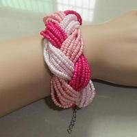 6 color,Fashion Bohemian Boho Mix Color Chunky Fine Bead Braid Chain Bracelet bangle women jewelry Item,AF002