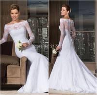 Brazil Fashion Lace Bateau Neckline Long Sleeves Mermaid Wedding Dress 2014 Bridal Gown Vestido de Noiva 2014 Manga Longa Sereia