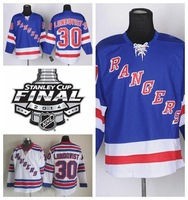 York Rangers Hockey Jerseys #30 Henrik Lundqvist Jersey Blue White s Stitched With  Stanley Cup Finals Jersey Patch- Free Shippi