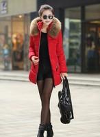 New 2014 Jacket Women Winter Coat Thicken Slim Female Raccoon Fur Collar And Long Coat Women Parka Winter Coat Plus Size S-5XL