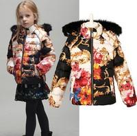 2014 Child Warm fur coats brand fashion down jackets girl outerwear children's coats kids winter clothes 2-8 years