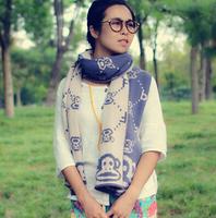 High quality sweet color wool scarf women winter knit monkey pattern jacquard scarf girls winter scarf jewelry