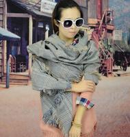 Wholesale big scarf lady pashmina scarf with tassle women big style acrylic knitted winter shawls pashmina scarf for women