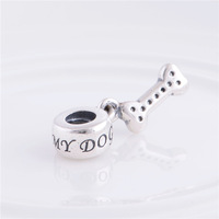 Factory Sales 925 Sterling Silver Screw LW349 I love My Dog Bone Pendant Jewelry Charms Thread Beads For European Snake Chain