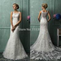 Mermaid White/Ivory Lace Sleeveless Wedding Dress Bridal Scoop Floor-Length Wedding Dresses custom Size 6 8 10 12 14 16++