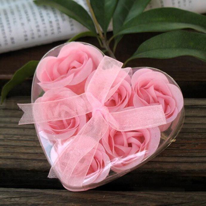 Pink 6pcs/pack pack Romantic Rose Flower Petal Shape Nature Essential Oil Bath Soap gift HQS-G2014(China (Mainland))