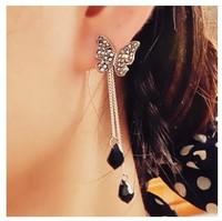 Mini Order $8.8(Mix Orders)  Stunning Beautiful Rhinestone Butterfly Pendant Chain Fashionable Earring FE0169