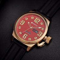 48MM Big Size Curren Men Rubber Watch Cool Sports Designer Submersible Analog Clock Luminous Calendar Wristwatch Relojes NW1730
