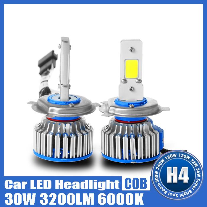 Pair of 3200 lumens 12V 30W Super White Car LED Lenser H1/H4/H7/H11/9005/9006/D2 Headlight Lamp(China (Mainland))