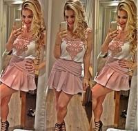 S-XL New fashion summer new 2014 women's lace stitching women's dress 2 pcs set #JM668
