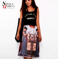 2014 European and American women the latest printing two little angel girl skirts
