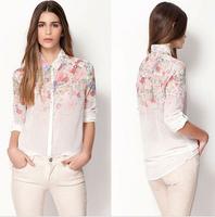 Size S to XL New 2014 Fashion Women Chiffon Blouses Women Flower Print Casual Chiffon Long Sleeve Shirts Women blusas femininas