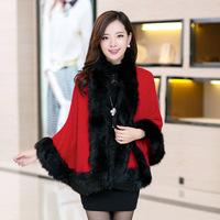 2014 new winter long section of women's cloak cape faux fur shawl knit cardigan women