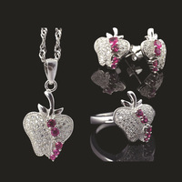 Little Apple genuine S925 Silver three-piece ring full of diamond pendant earrings craft   Three  Pieces
