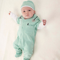 2014 new summer lovely baby can lead men and women doctors even breasted garment Mini climbing ha clothes