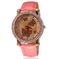 2014 fashion brand watch women pu leather straps quartz watch rhinestones dress watches 5 colors relogio butterfly design