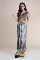 fashion floor length Print Bohemian maxi dress Women Plus Size dress SIze M L XL XXL XXXL XXXXL 5XL 6XL Free shipping HL1902-1