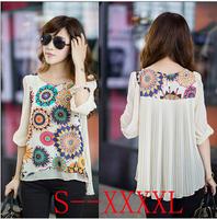 Free Shipping New 2014 Summer Women Blouse Chiffon Shirt O-neck printing half sleeve PLUS SIZE shirts women blusas femininas