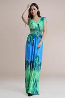 fashion floor length Print Bohemian maxi dress Women Plus Size dress SIze M L XL XXL XXXL XXXXL 5XL 6XL Free shipping HL1902-3