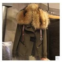 Fashion Women's faux woolen suit jacket slim medium-long fur collar Wool Blends Coat Woolen outerwear coat women