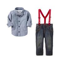 Wholesale 2014 boy leisure tshirt boy shirt +pants kids clothing set boy bib 6pcs/lot