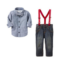 Wholesale 2014 boy leisure tshirt boy shirt +pants kids clothing set boy bib 6pcs/lot