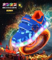 Promotion 2014 autumn children sneakers luminous kids shoes LED light child sneakers fashion girls boys sport shoes size 26-30