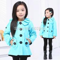 2014 Autumn Children Tench Coats Girls Flounced Collar Jacket Coats Kids Coats Kids Clothing Free Shipping 6 PCS
