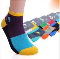 Paul HJC  POLO yin and colorful tricolor fifth paragraph combed cotton thin socks wholesale polo logo embroidery  5 pairs /lot