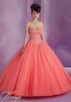 Coral Quinceanera Dresses 2015 Floor Length Beaded Corset Lace Up Ball Gowns Crystals  Prom dress  Vestidos De Gala Q89007