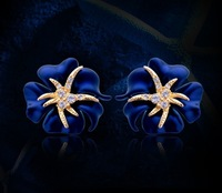 2014 New Fashion Jewelry 18K Gold Plated Crystal Blue Flower Starfish Cocktail Clip Earrings Ear Cuff Party Jewelry