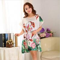 Vintage Super Spring Female Fish&Flower Gallus Beautiful Sleepshirts Seda Essentials Satin Pajama Magicdream Brand YP1203200