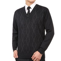 2014 Men's Authentic knit New  autumn winter middle-aged and old wool unlined upper garment sweater