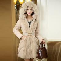 2014 Winter Warm Women's Fur Coat Fur Collar Placket Medium-long Hooded Luxurious Fur Coats Overcoat For Women Coat Outwear