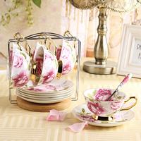 Quality fashion bone china coffee cup set d'Angleterre teacup vintage fashion rose belt rack