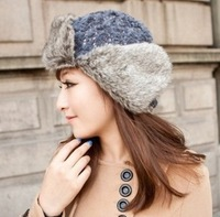 The new fall and winter female Beautiful fashion female Lei Feng sequined hat ear cap warm snow cap B157 flight