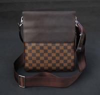 2014 Free Shipping Men Casual Messenger Bag Brown Plaid Shoulder Bag Messenger Bag PU Leather Business Bag BG251
