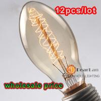 12PCS/LOT,(C55),Wholesale Price,Vintage Edison Incandiscent Light Bulb 40W E27 220V,Light Bulbs For Lamp Decor, Free Ship