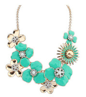 Green Fashion jewelry flower necklace + epoxy flower necklace + glass stones + pearl + Free shipping!