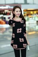 2014 Korean version of the new women's winter temperament long-sleeved slim models big flower head sweater female sweater