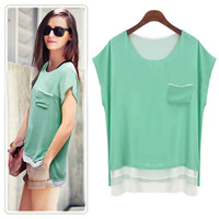 2014 summer women's t-shirt solid color chiffon blouse Europe and America large size women