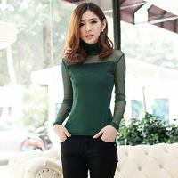 2014 autumn and winter newest fashion Kroean style casual turtleneck women top plus size chiffon women T-shirt 7 color S-3XL