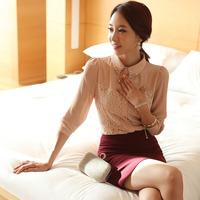 2014 new Korean version of the diamond lace long-sleeved suit Slim female occupation mini dress